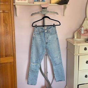 ***AGOLDE***high rise jean straight leg riley crop